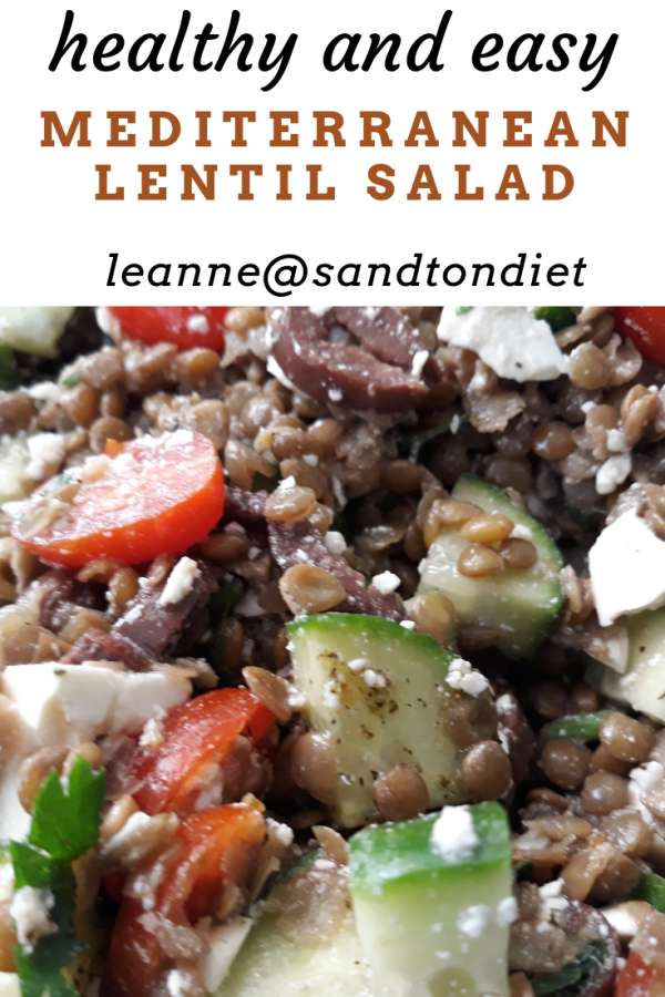 healthy and easy Mediterranean lentil salad